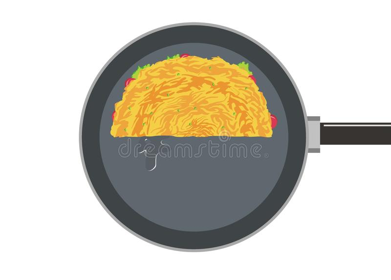 Omelette/fried egg on a frying pan simple illustration. Simple illustration of a half of omelette/fried egg on a frying pan royalty free illustration