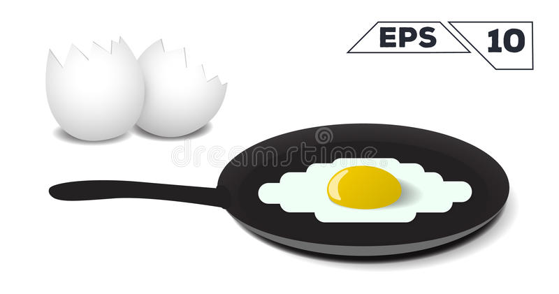 Omelette fried eggs on a frying pan royalty free illustration