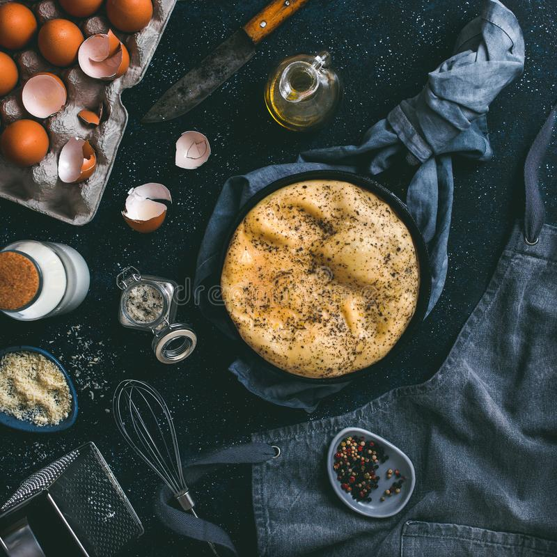 Omelette and ingredients low key stock images