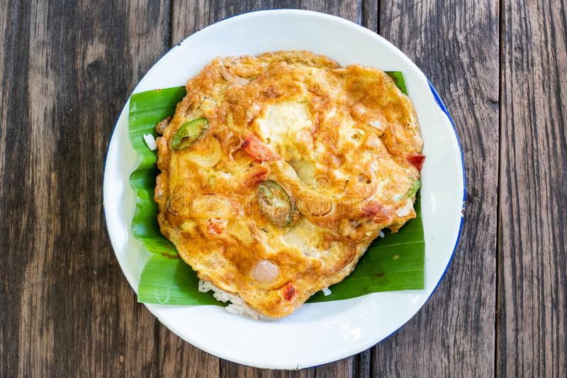 Omelette  shot from above on a rustic wooden texture stock photography
