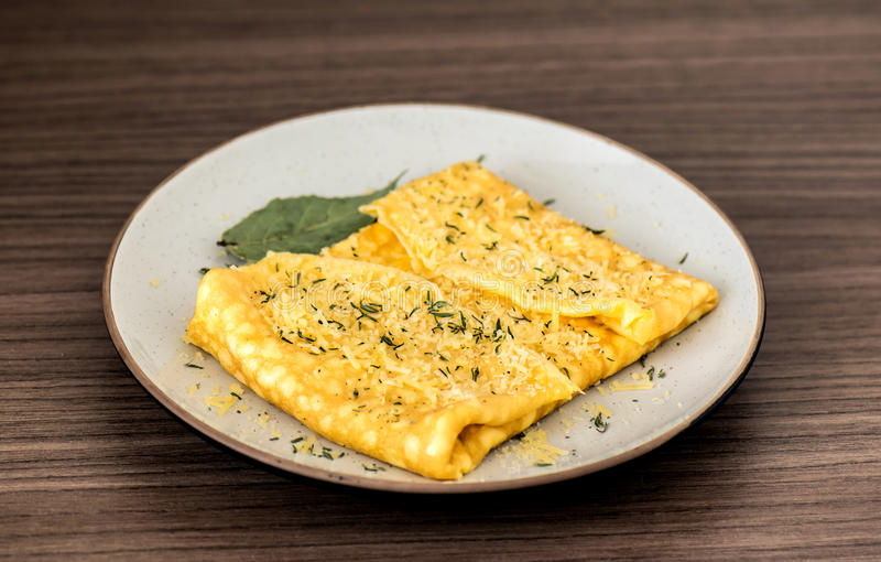 Omelette with parmesan cheese royalty free stock image