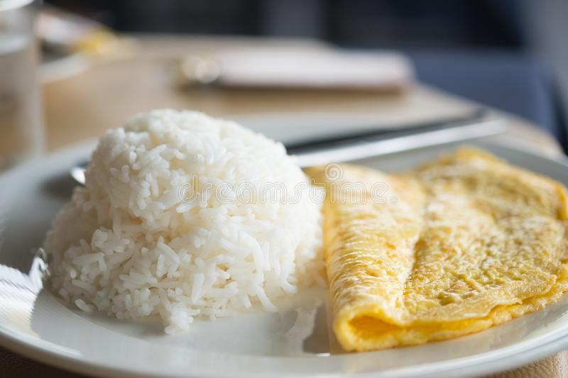 Omelette with rice Thai food stock photos