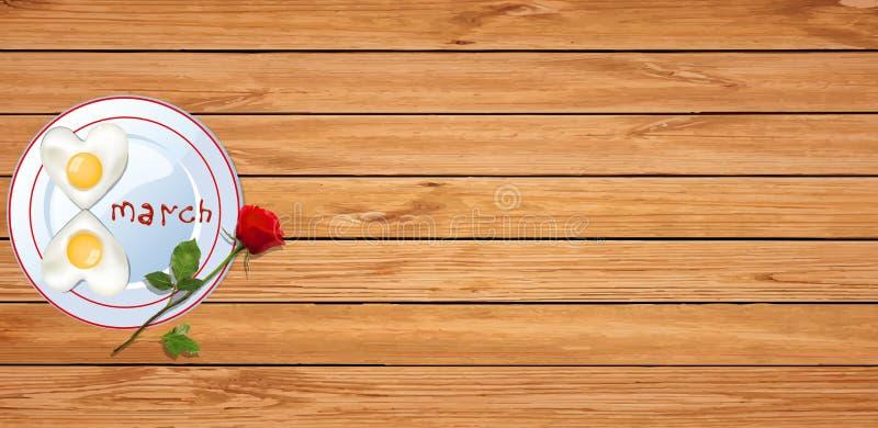Omelettet med ketchupbokstäver 8 marscherar och den röda rosen på träbaksida royaltyfri illustrationer