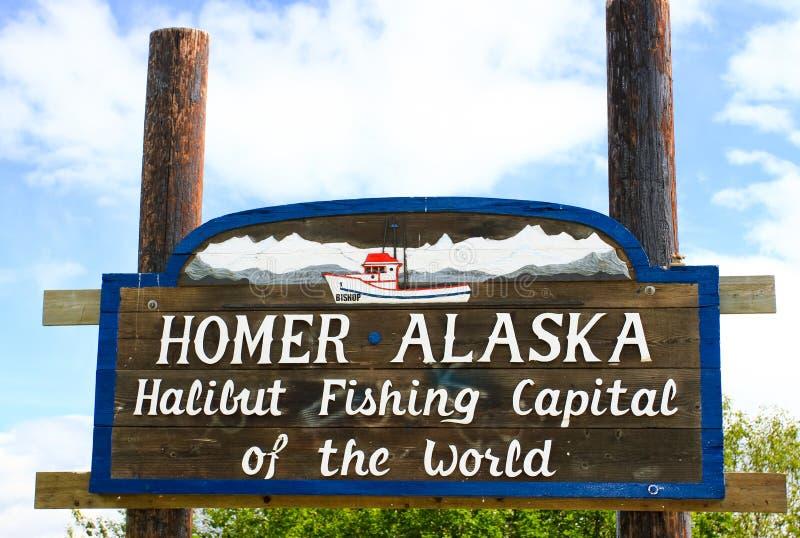 Omero Alaska - halibut che pesca capitale immagine stock