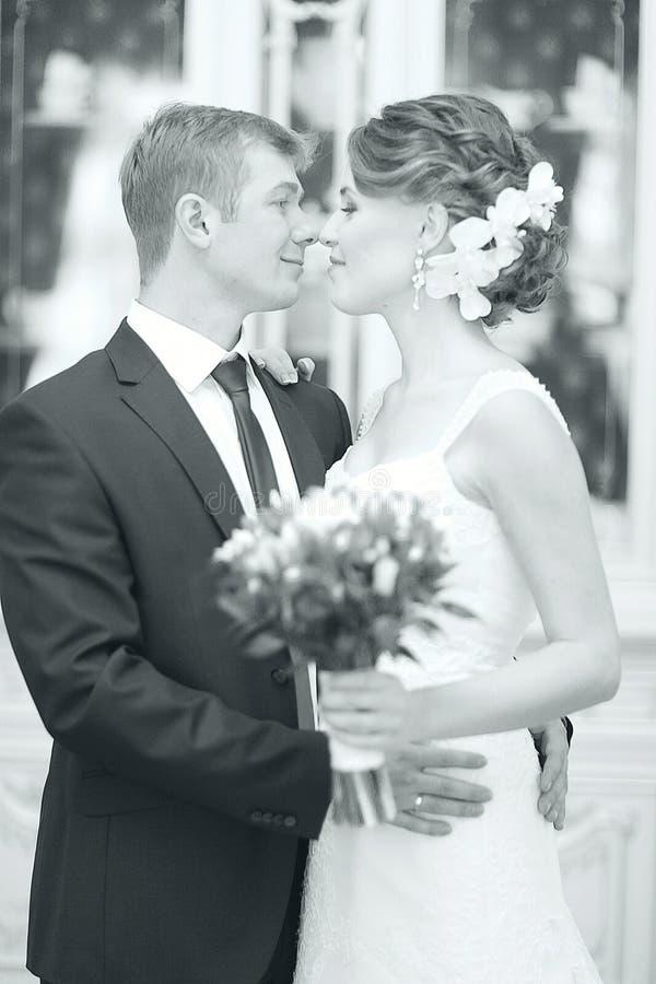 Omfamna för för bröllopfotobrud och brudgum fotografering för bildbyråer
