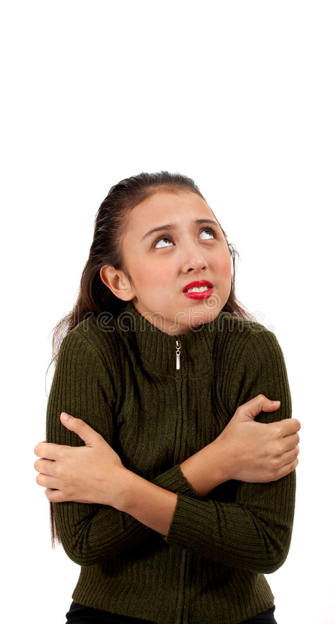 omfamna flickan henne själv arkivfoto