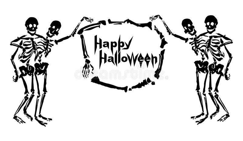 Omfamna skelett rymmer ramen gjord av ben stock illustrationer