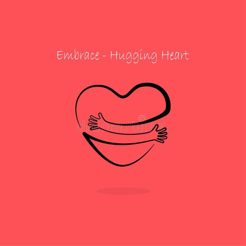 Omfamning som kramar hjärtasymbol Logo för kram själv Journal för förälskelse själv royaltyfri illustrationer
