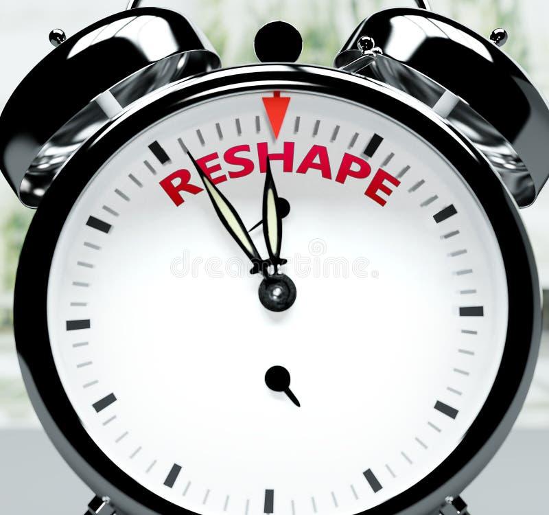 Omforma snart, nästan där, på kort tid - en klocka symboliserar en påminnelse om att omformningen är nära, kommer att hända och a stock illustrationer