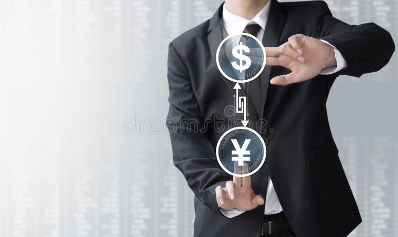 Omformare eller utbyte för valuta för show för affärsman arkivfoto