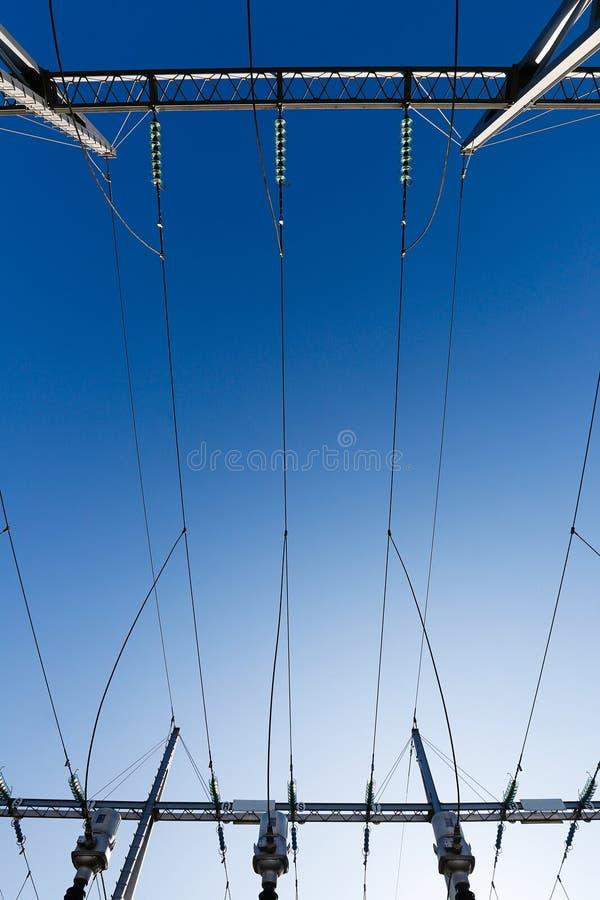 Omformarstationen, avdelningskontor skriver in det elektriska systemet fotografering för bildbyråer