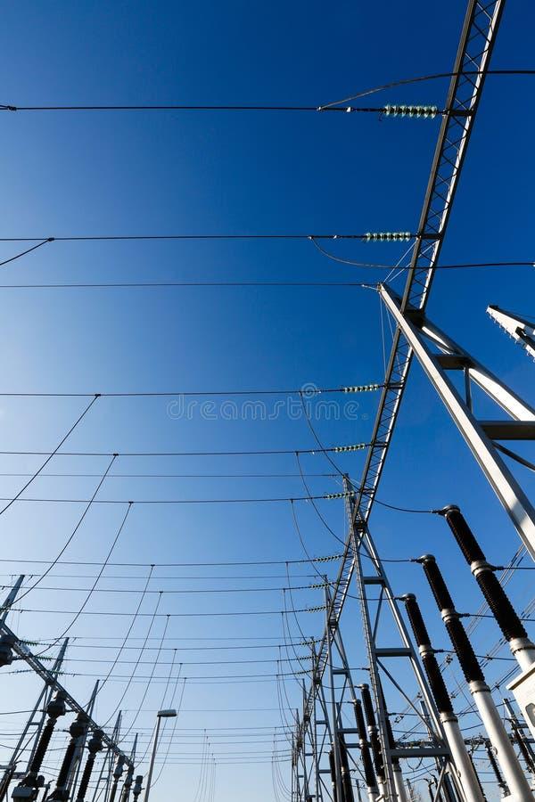 Omformarstationen, avdelningskontor skriver in det elektriska systemet royaltyfri fotografi