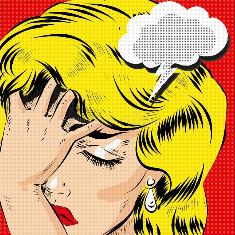 OMG-beklemtoonde vectorart. van het pop-art het grappige blonde vrouw royalty-vrije illustratie