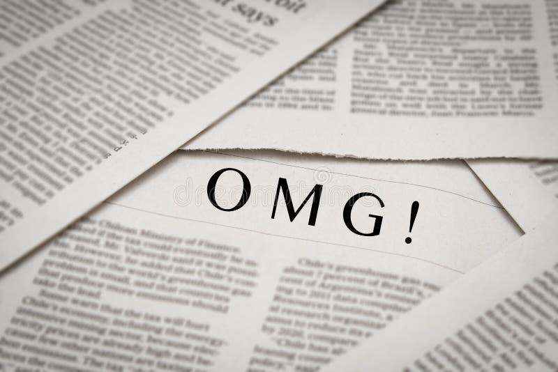 OMG! headline. On newspaper background royalty free stock photography