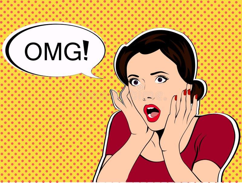 OMG la mujer en estilo retro del arte pop del choque ilustración del vector