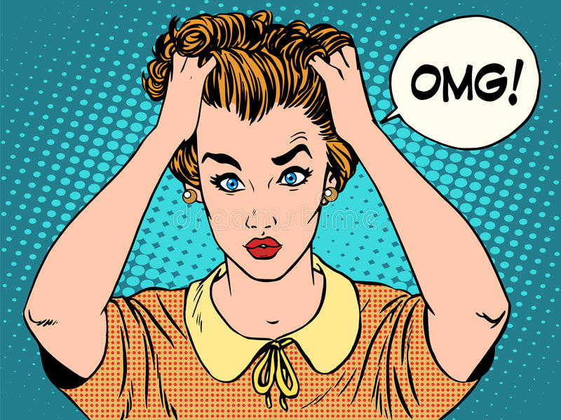 OMG a mulher em choque ilustração royalty free