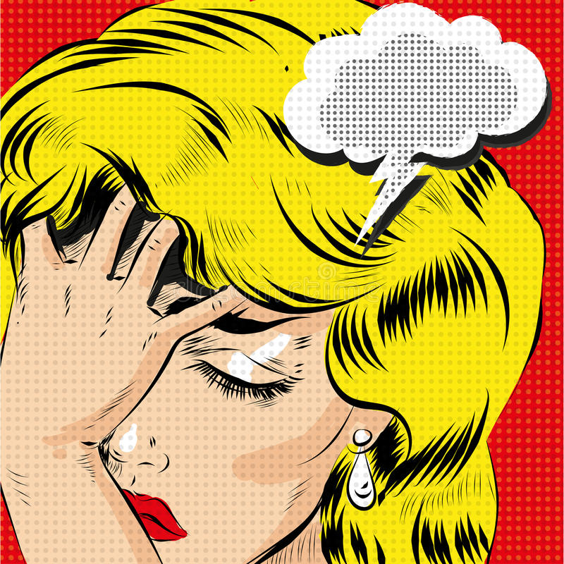 OMG pop art comic blonde woman stressed vector art royalty free illustration