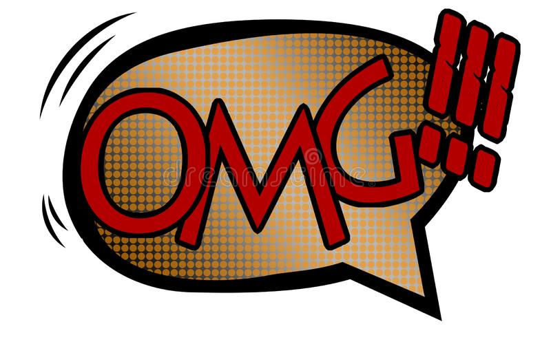 OMG text with comic book style stock image