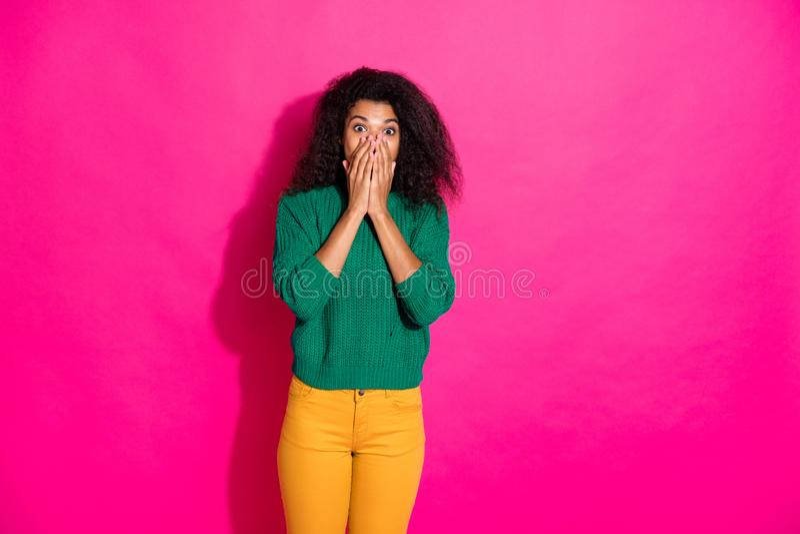 Omg... Unbelievable... Portrait of impressed dark skin girl hear wonderful news about autumn fall vacations become. Omg... Unbelievable... Portrait of impressed royalty free stock photo