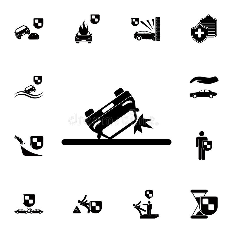 omgekeerd autopictogram Gedetailleerde reeks verzekeringspictogrammen Grafisch het ontwerpteken van de premiekwaliteit Één van de stock illustratie