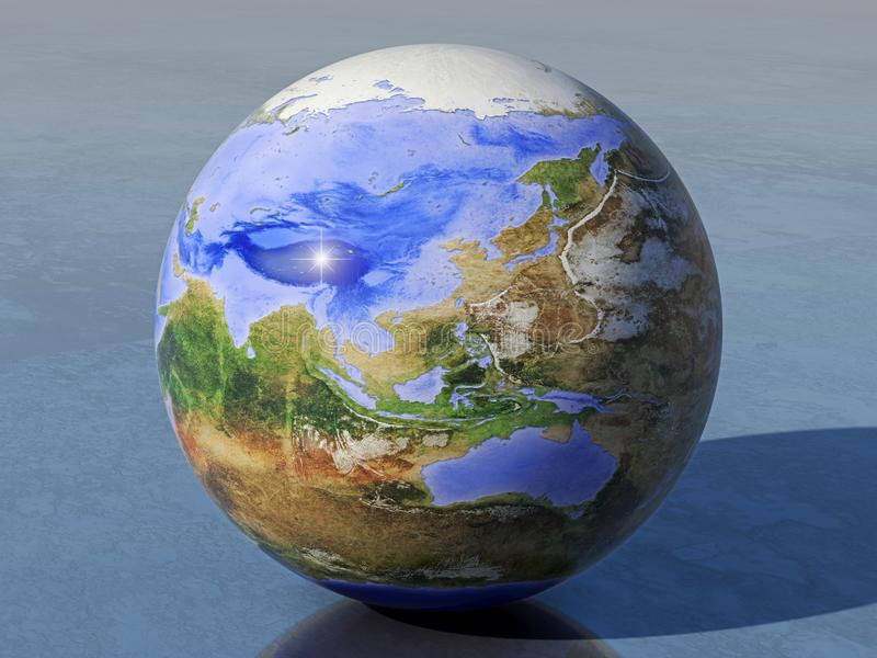Omgekeerde Aardebol, Azië en Australië royalty-vrije stock foto's