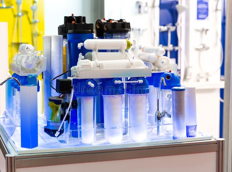 Omgekeerde osmose, water schoonmakende filter stock afbeelding