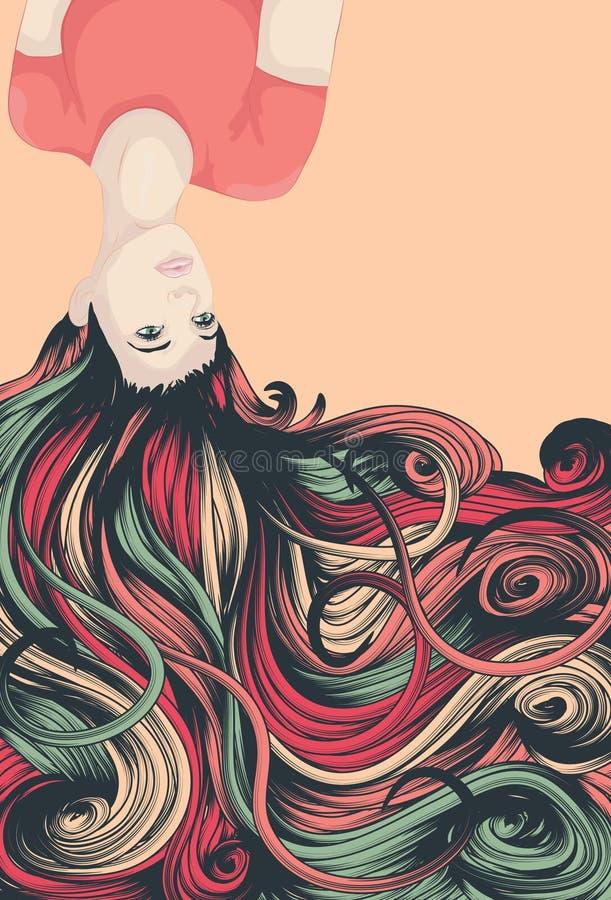 Omgekeerde vrouw met lang haar stock illustratie