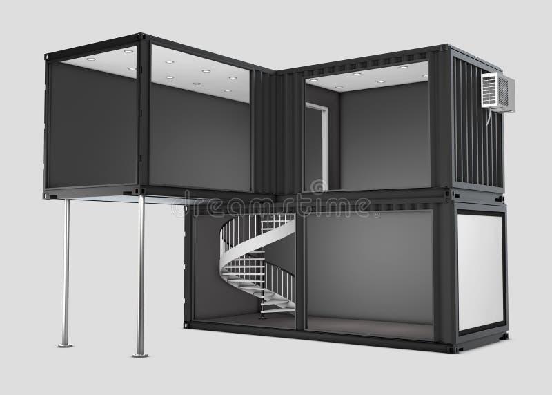 Omgezette oude verschepende container, 3d grijze geïsoleerd Illustratie royalty-vrije illustratie
