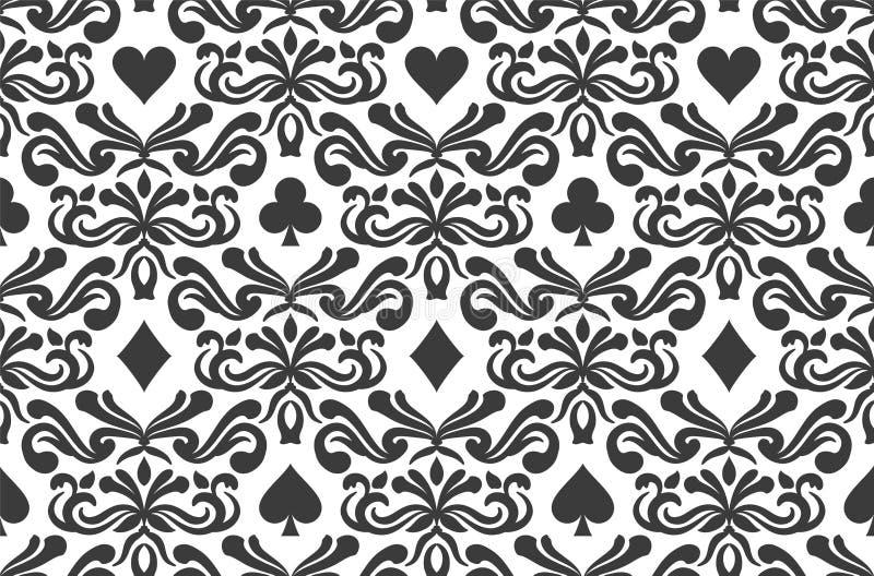 Omgiven sömlös bakgrund med pokersymboler stock illustrationer