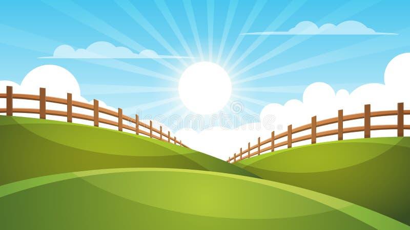 Omheining, beeldverhaallandschap Zon, wolk, hemelillustratie vector illustratie