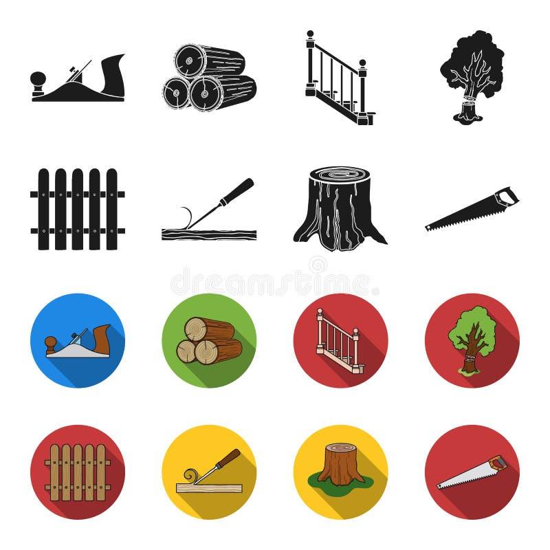 Omheining, beitel, stomp, metaalzaag voor hout Timmerhout en hout stileren de vastgestelde inzamelingspictogrammen in zwarte, fle vector illustratie