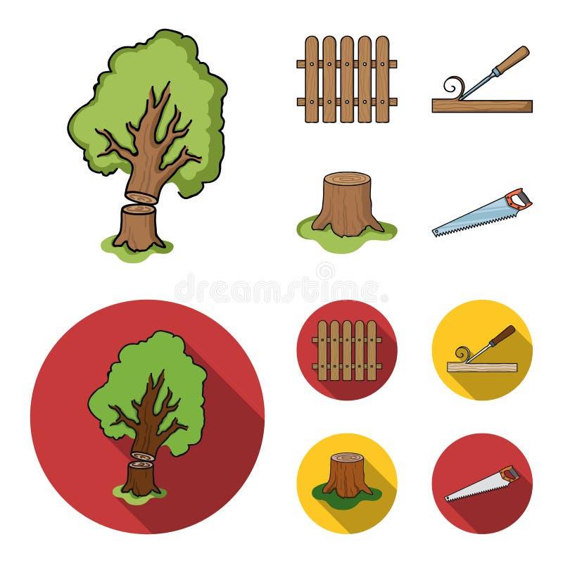 Omheining, beitel, stomp, metaalzaag voor hout Timmerhout en hout vastgestelde inzamelingspictogrammen in beeldverhaal, de vlakke stock illustratie
