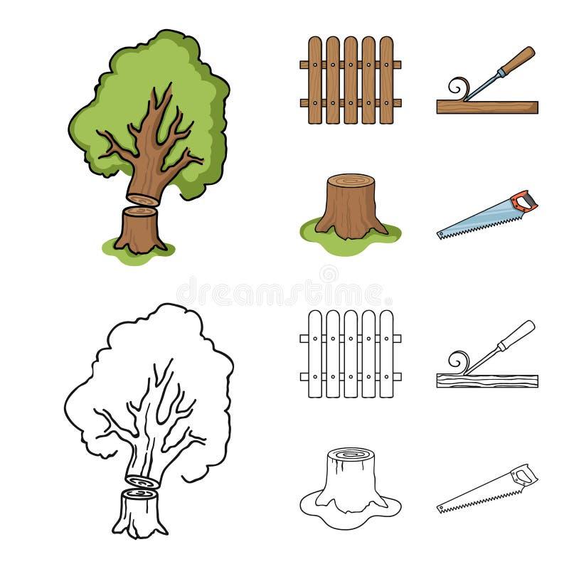 Omheining, beitel, stomp, metaalzaag voor hout Timmerhout en hout vastgestelde inzamelingspictogrammen in beeldverhaal, het vecto vector illustratie