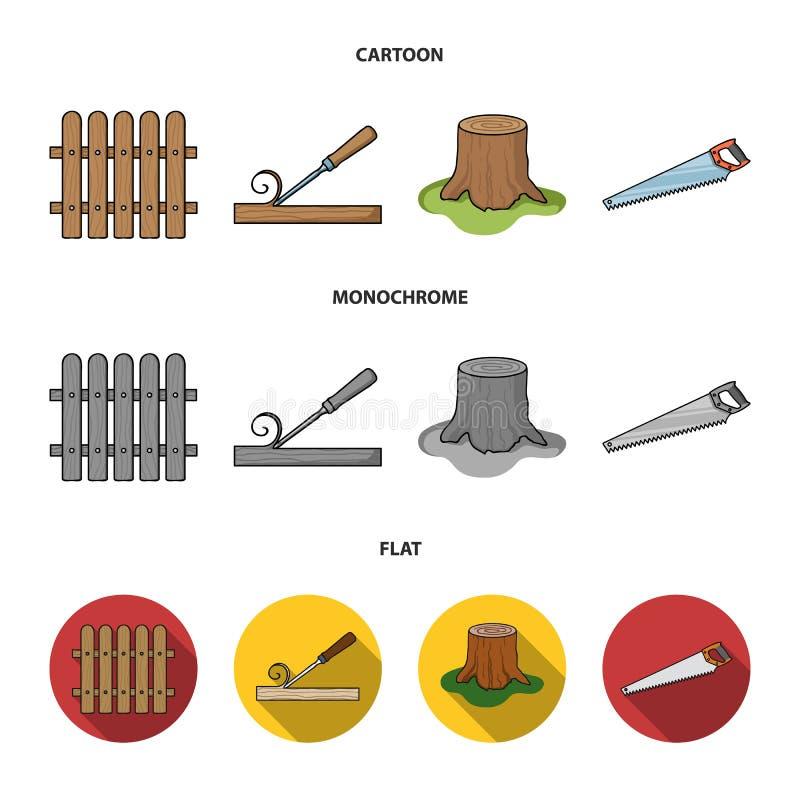Omheining, beitel, stomp, metaalzaag voor hout Timmerhout en hout vastgestelde inzamelingspictogrammen in beeldverhaal, vlakke, z vector illustratie