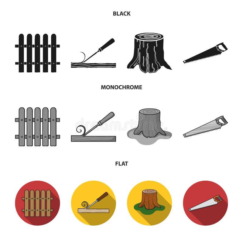Omheining, beitel, stomp, metaalzaag voor hout Timmerhout en hout vastgestelde inzamelingspictogrammen in zwarte, vlakke, zwart-w vector illustratie