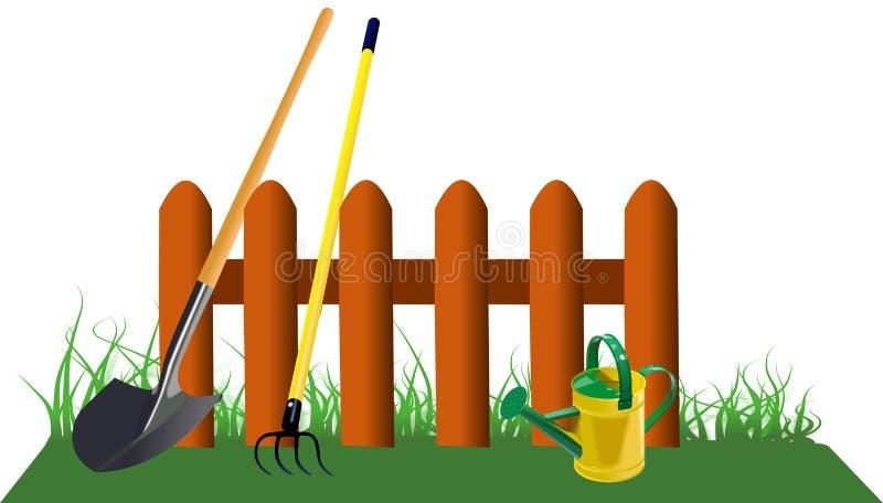 Omheining in gras met tuinhulpmiddelen royalty-vrije illustratie