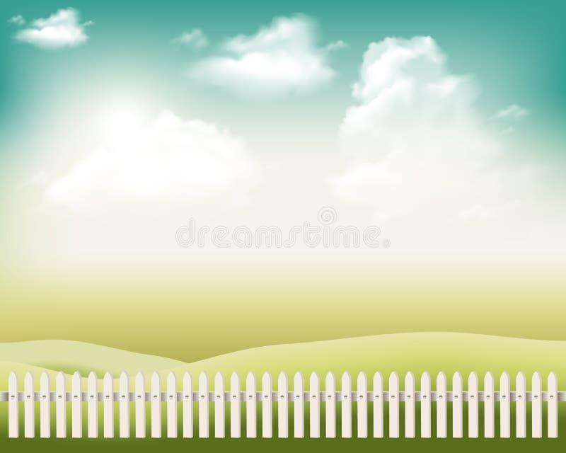 Omheining Het landschap van het beeldverhaal Zon en hemel met wolken Vector illustratie royalty-vrije illustratie