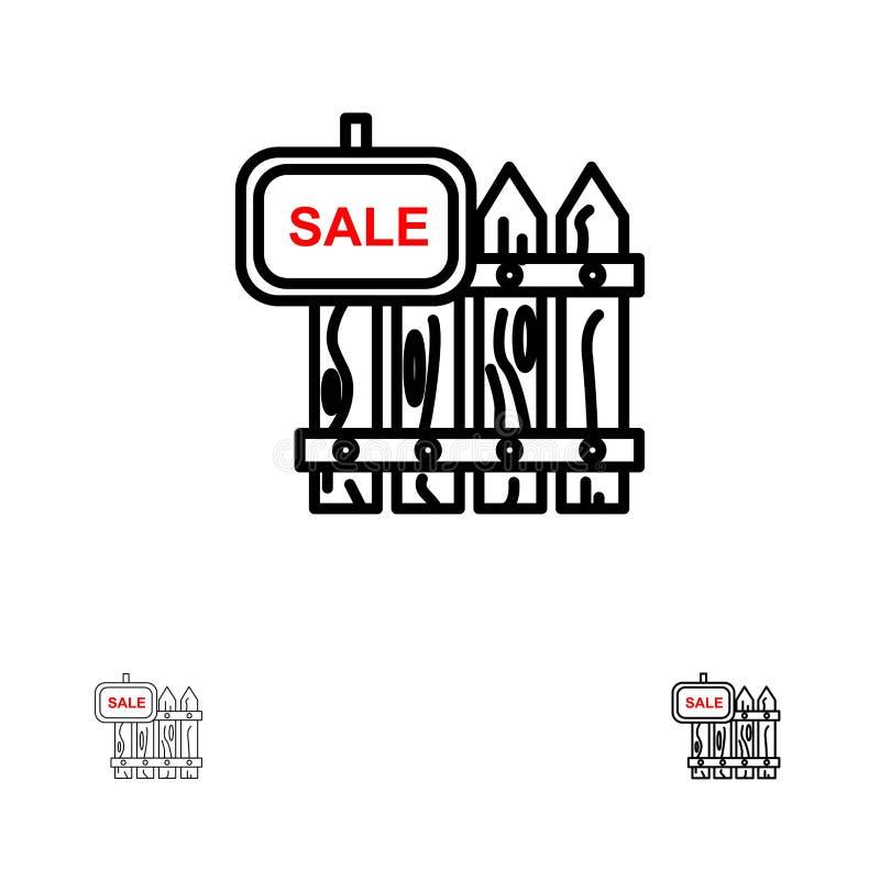Omheining, Hout, Makelaardij, Verkoop, Tuin, het pictogramreeks van de Huis Gewaagde en dunne zwarte lijn royalty-vrije illustratie