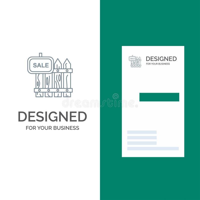 Omheining, Hout, Makelaardij, Verkoop, Tuin, Huis Grey Logo Design en Visitekaartjemalplaatje stock illustratie