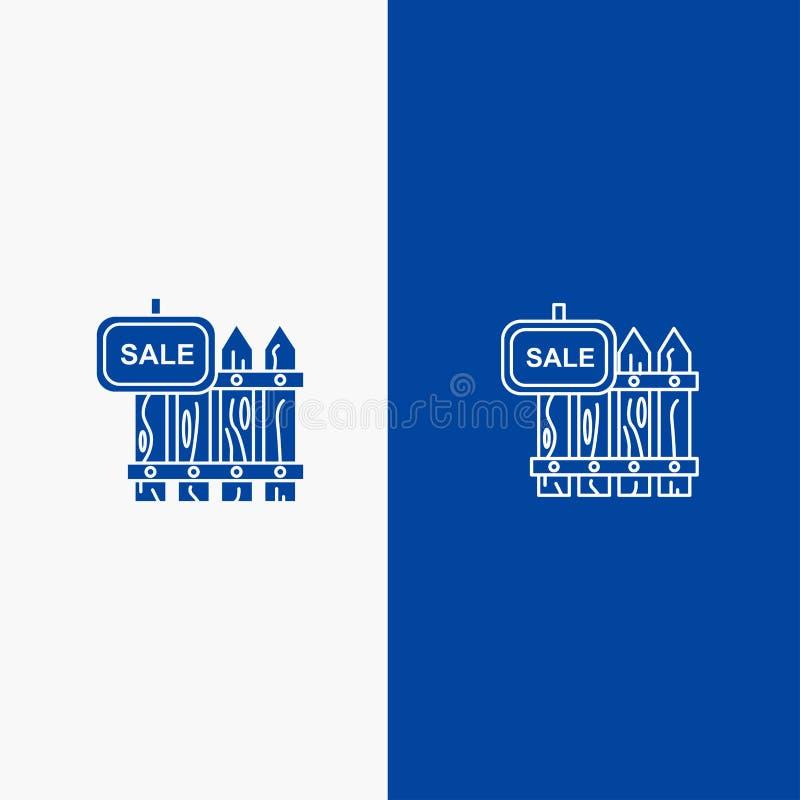 Omheining, Hout, Makelaardij, Verkoop, Tuin, Huislijn en Lijn van de het pictogram Blauwe banner van Glyph de Stevige en Stevige  royalty-vrije illustratie