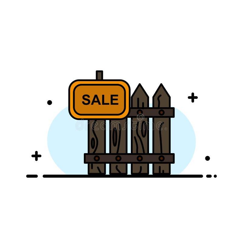 Omheining, Hout, Makelaardij, Verkoop, Tuin, Malplaatje Huis van de Bedrijfs het Vlakke Lijn Gevulde Pictogram Vectorbanner stock illustratie