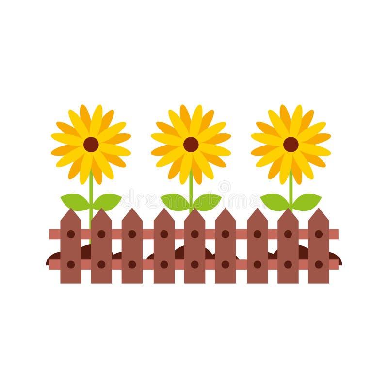 Omheining houten met bloemen stock illustratie