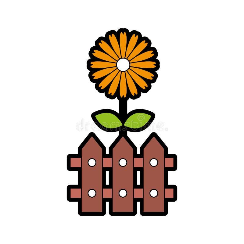 Omheining houten met bloemen vector illustratie