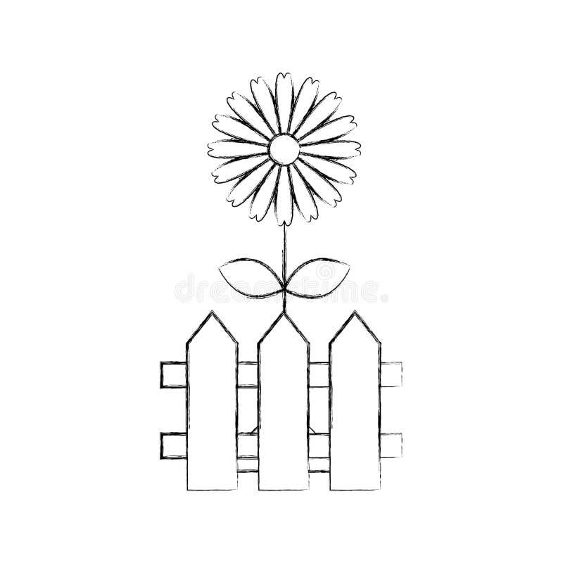 Omheining houten met bloemen royalty-vrije illustratie