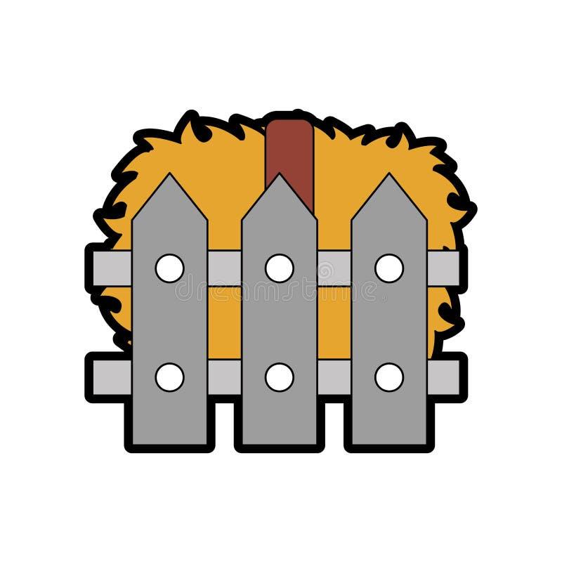 Omheining houten met stroblokken vector illustratie