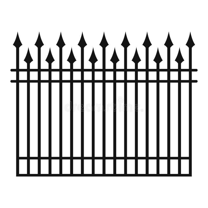 Omheining met het pictogram van de metaalstaaf, eenvoudige stijl stock illustratie