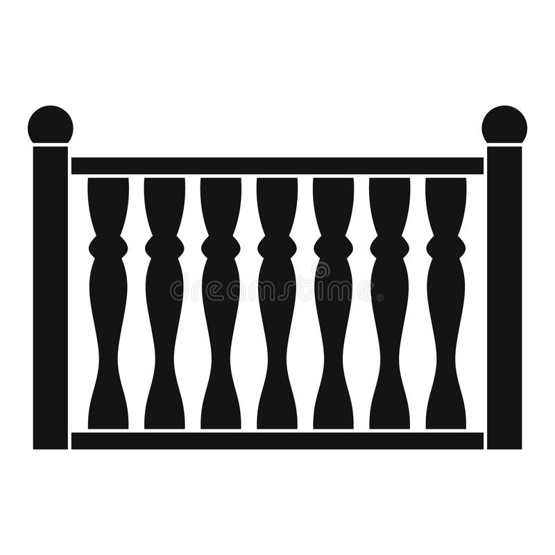Omheining met kolompictogram, eenvoudige stijl vector illustratie