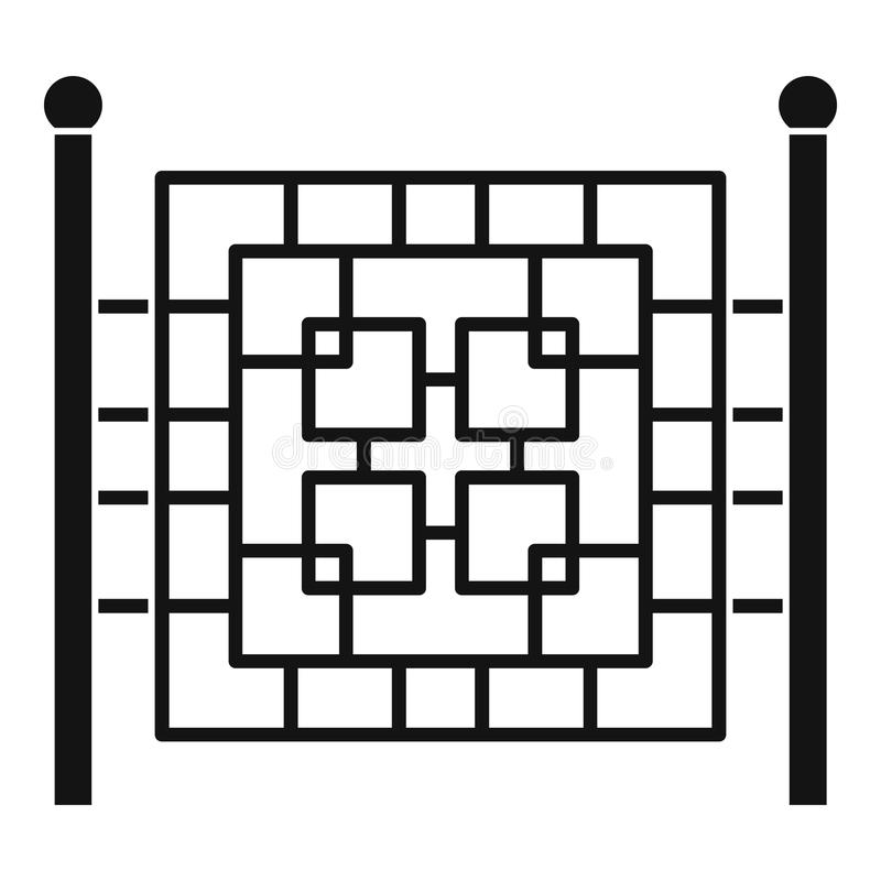 Omheining met metaal vierkant pictogram, eenvoudige stijl stock illustratie