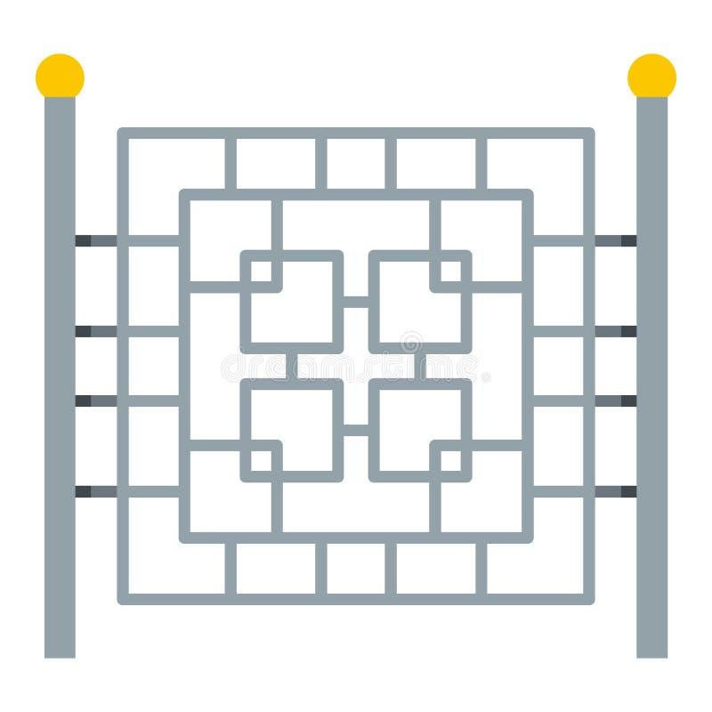 Omheining met metaal vierkant pictogram, vlakke stijl stock illustratie