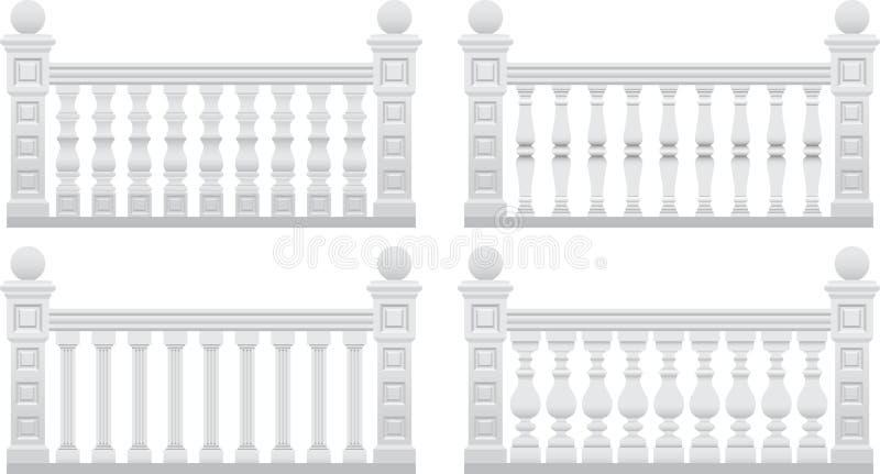Omheining met steenpijlers vector illustratie